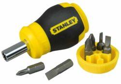 STANLEY 0-66-357 Šroubovák vícebitový krátký-Vícebitový šroubovák, krátký + 6 bitů