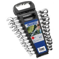 EXPERT E111106 Sada klíčů 12dílná ráčnových s páčkou-Sada ráčnových očkoplochých klíčů s přepínací páčkou